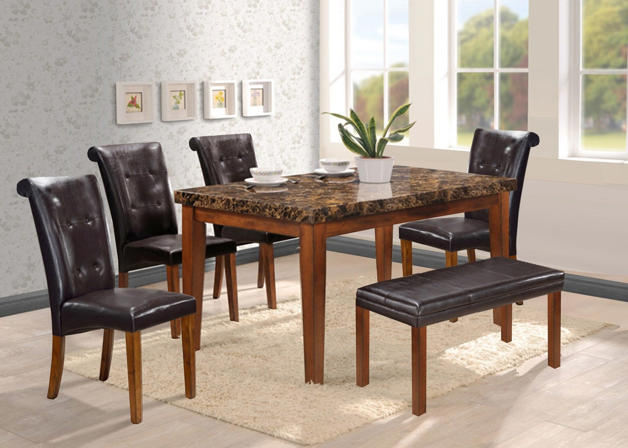 Marvelous Dining Table W Bench Set 6 Pcs Set Ibusinesslaw Wood Chair Design Ideas Ibusinesslaworg