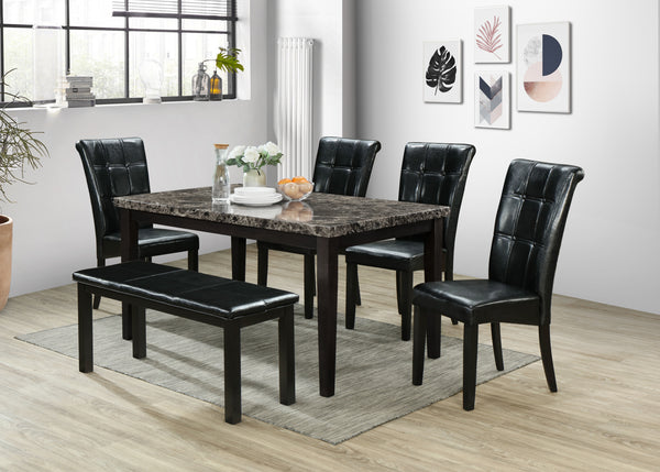 Black Dining Table w/ Bench Set; 6 PCS. SET