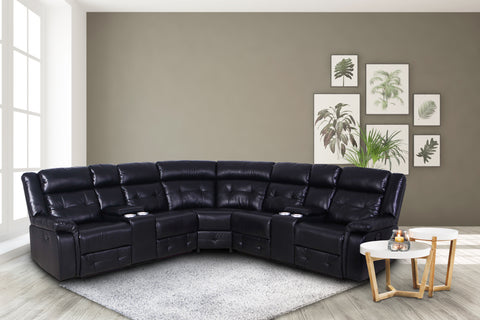 Black Sectional Group w/2 Console & 2 Recliner