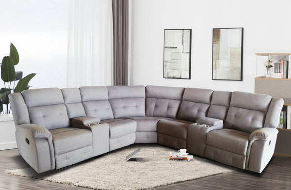 Taupe Fabric Sectional Group w/2 Console & 2 Recliner