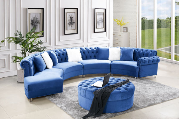 Navy Velvet Sectional Group