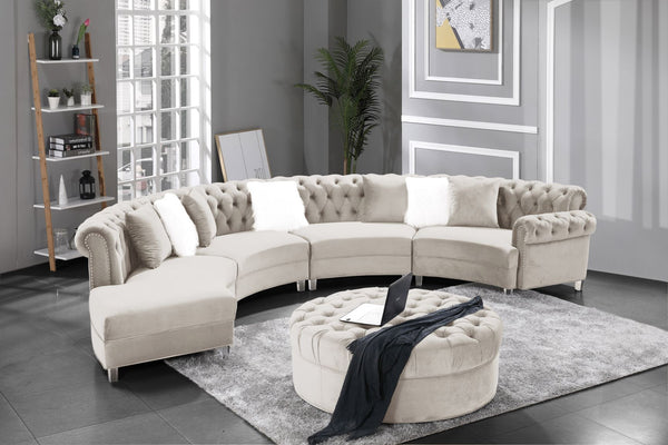 Beige Velvet Sectional Group