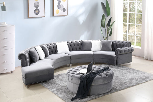 Gray Velvet Sectional Group