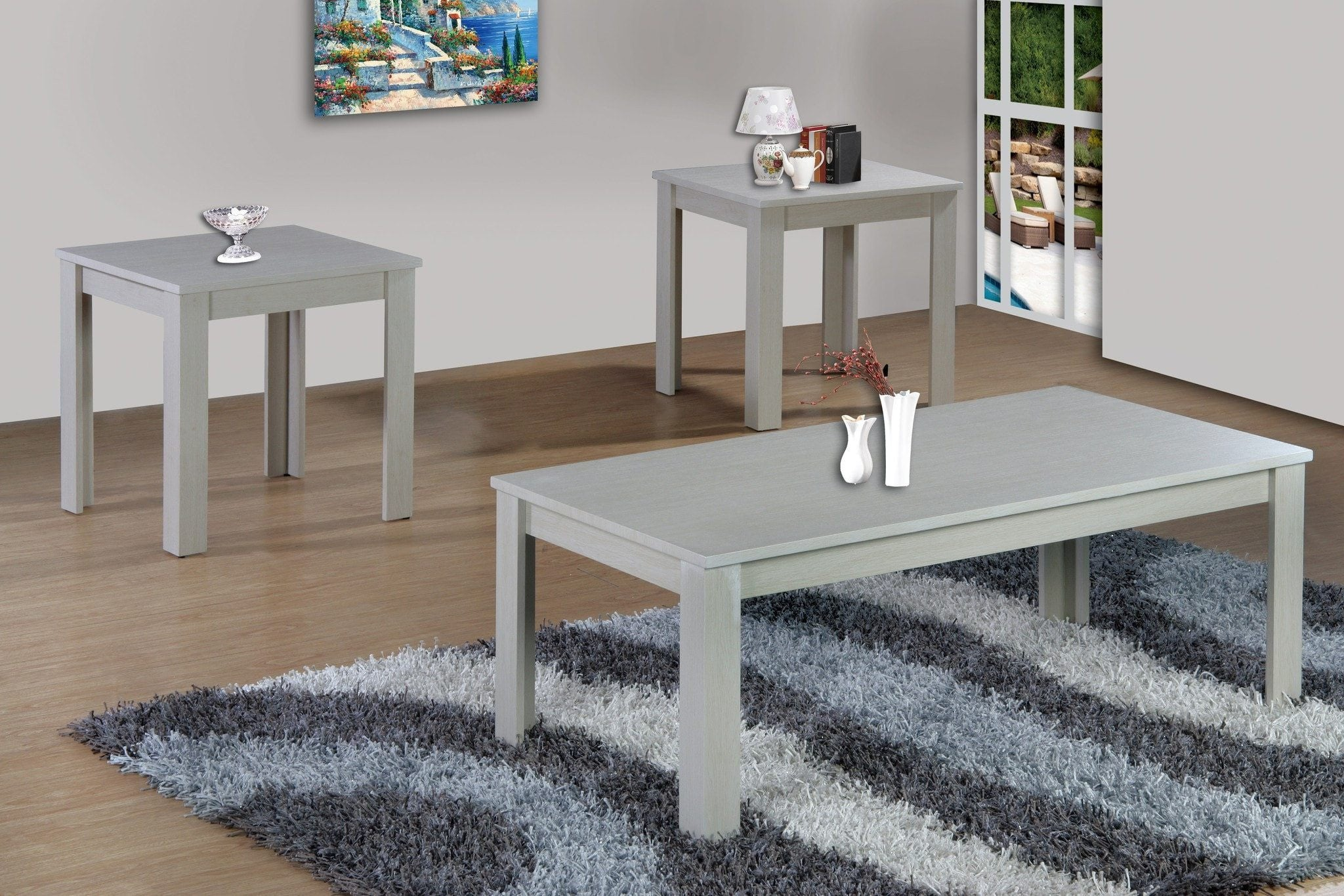 - White Coffee Table Set; 3 PCS. SET – Pacific Imports, Inc.