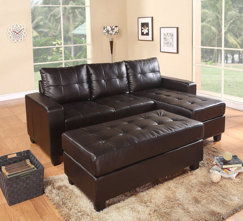 Reno Espresso Sectional & Ottoman Set - Furnlander