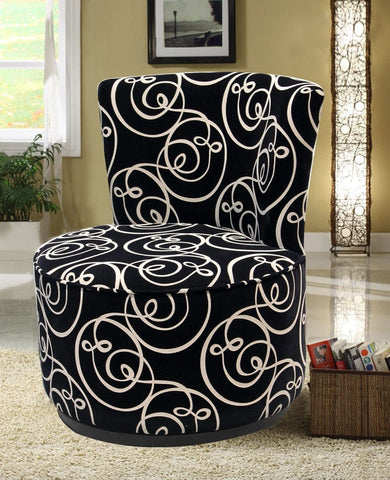 Black Swirl Swivel Chair - Furnlander