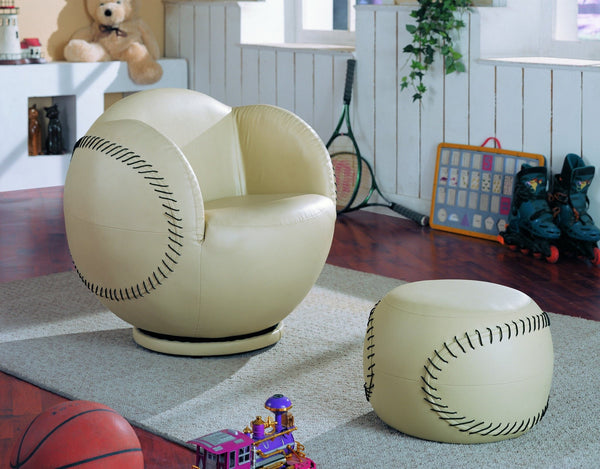 Baseball Swivel Chair w/ Ottoman - Furnlander