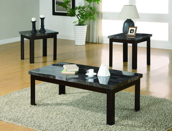 Larimar Black Coffee Table Set 3 PCS. SET (1C + 2E) - Furnlander