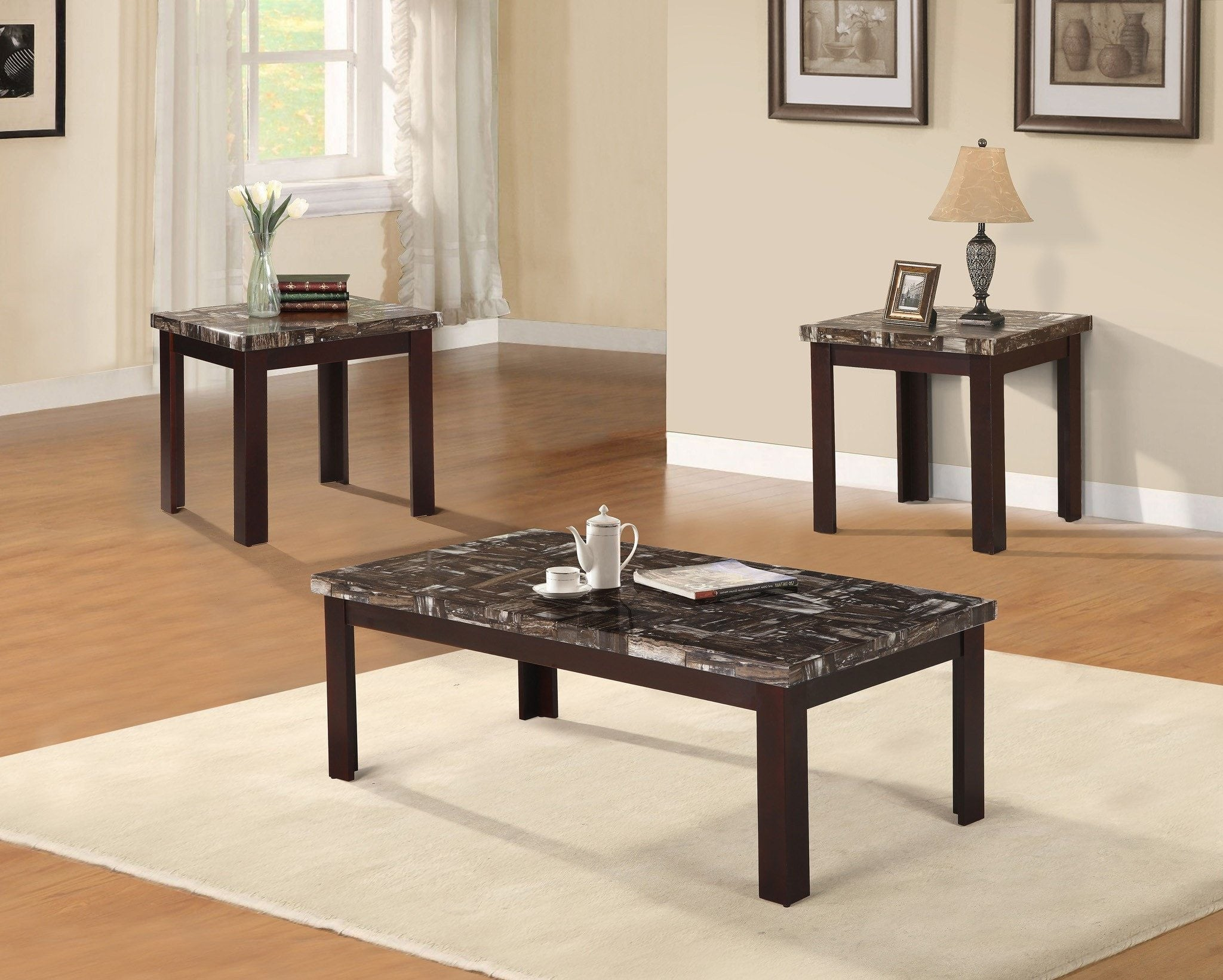 Coffee table set 3 pcs set pacific imports inc larimar espresso coffee table set 3 pcs set 1c 2e furnlander geotapseo Choice Image