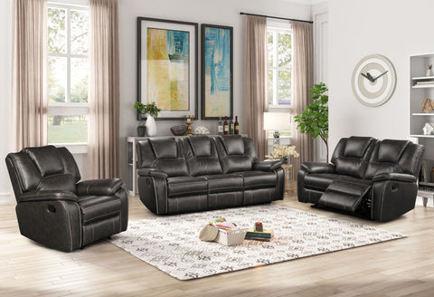 Leather Air Black Sofa Recliner Group