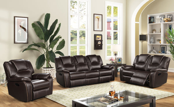 Leather Air Brown Sofa Recliner Group