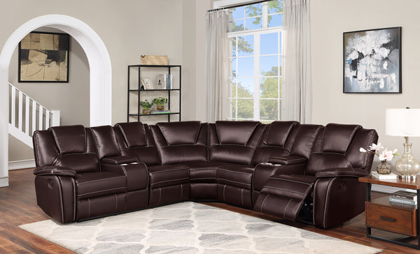 Espresso Sectional Group w/2 Console & 2 Recliner