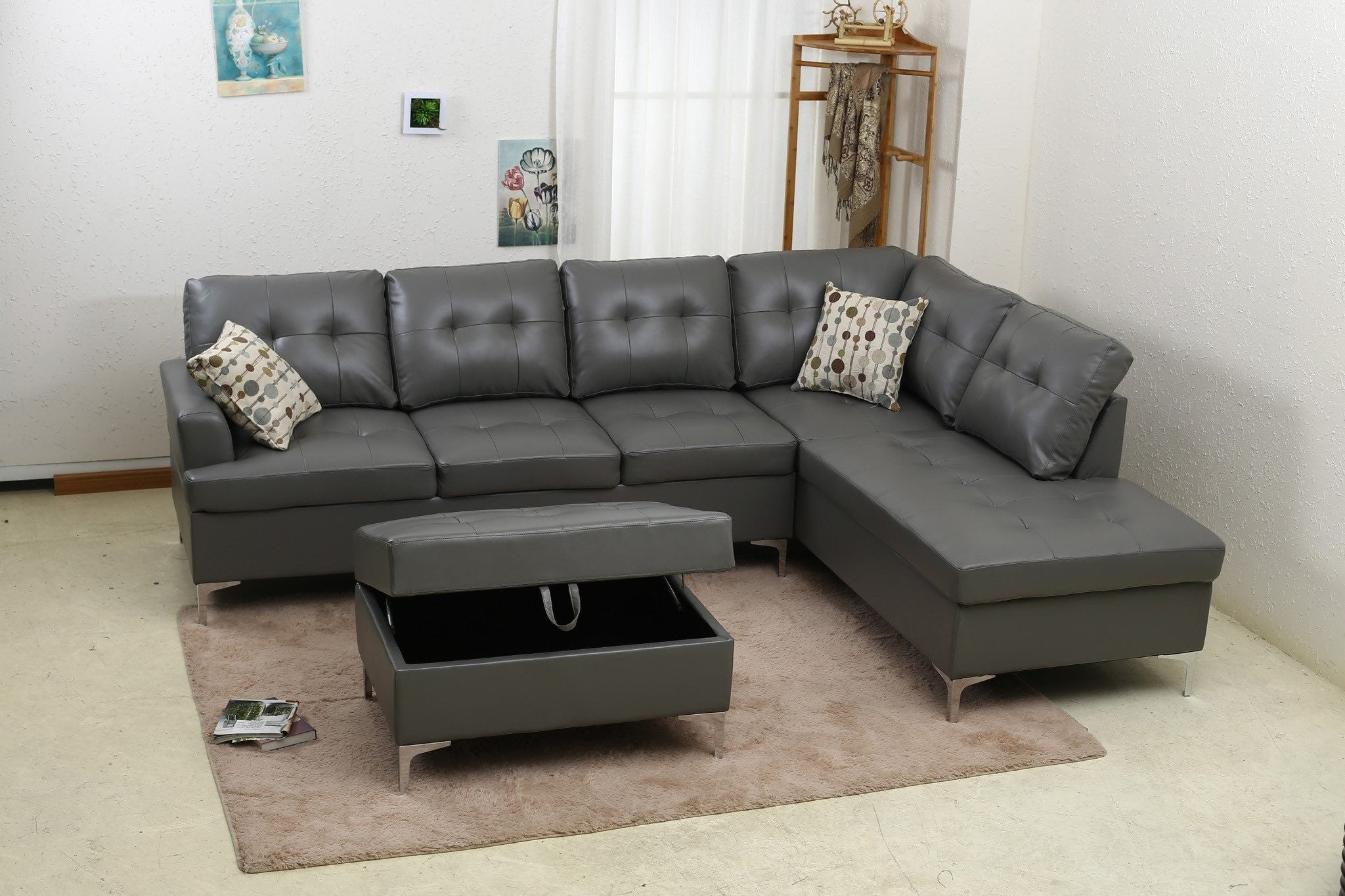 PU Sectional Sofa Set; Gray