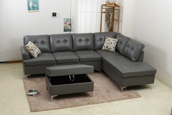 Echo Gray PU Sectional Sofa Set - Furnlander
