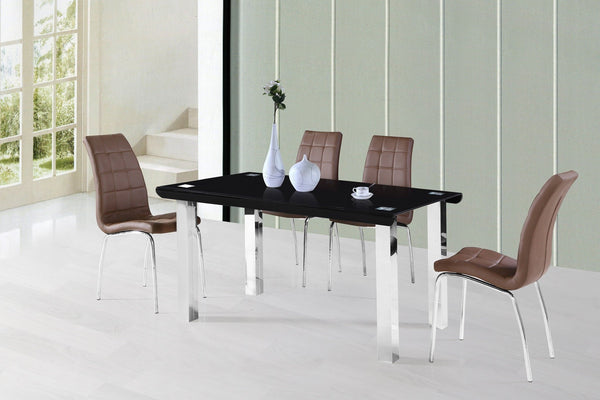 Skylar Dining Table w/ Curved Glass - Furnlander