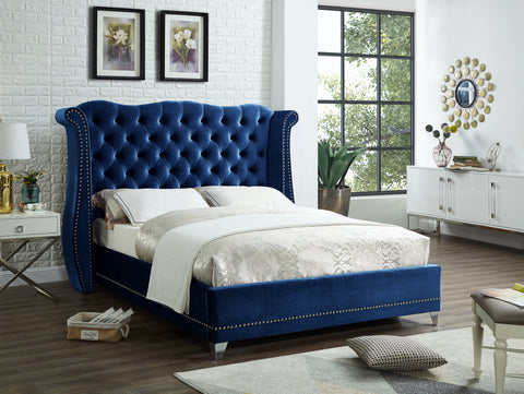 Navy Blue Upholstered Bed