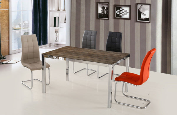 Wood Design Dining Table; Chrome
