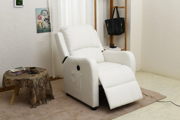 Hitchcock PU Power Recliner White - Furnlander
