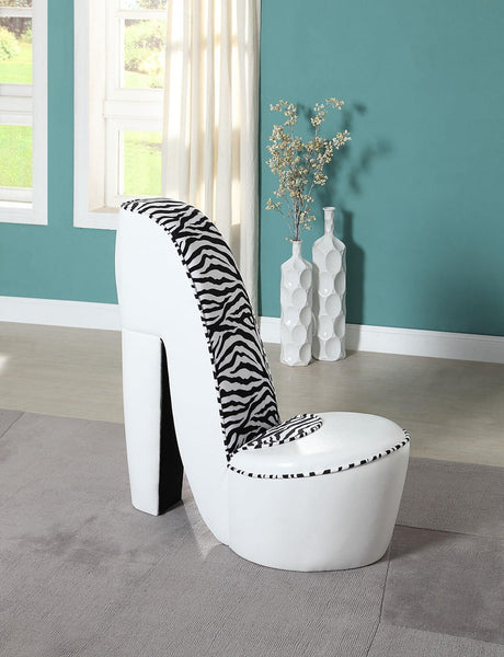 Upholstered Shoe Chair White/Zebra - Furnlander