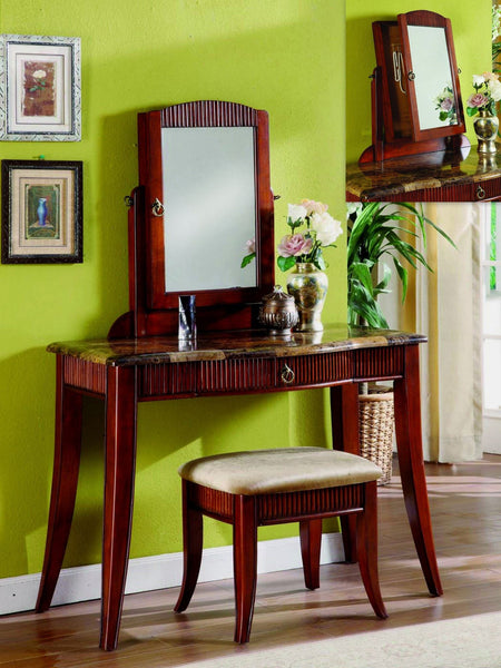 Garrison Vanity Set with Hidden Jewelry Cabinet Cherry  2 PCS. SET - Furnlander