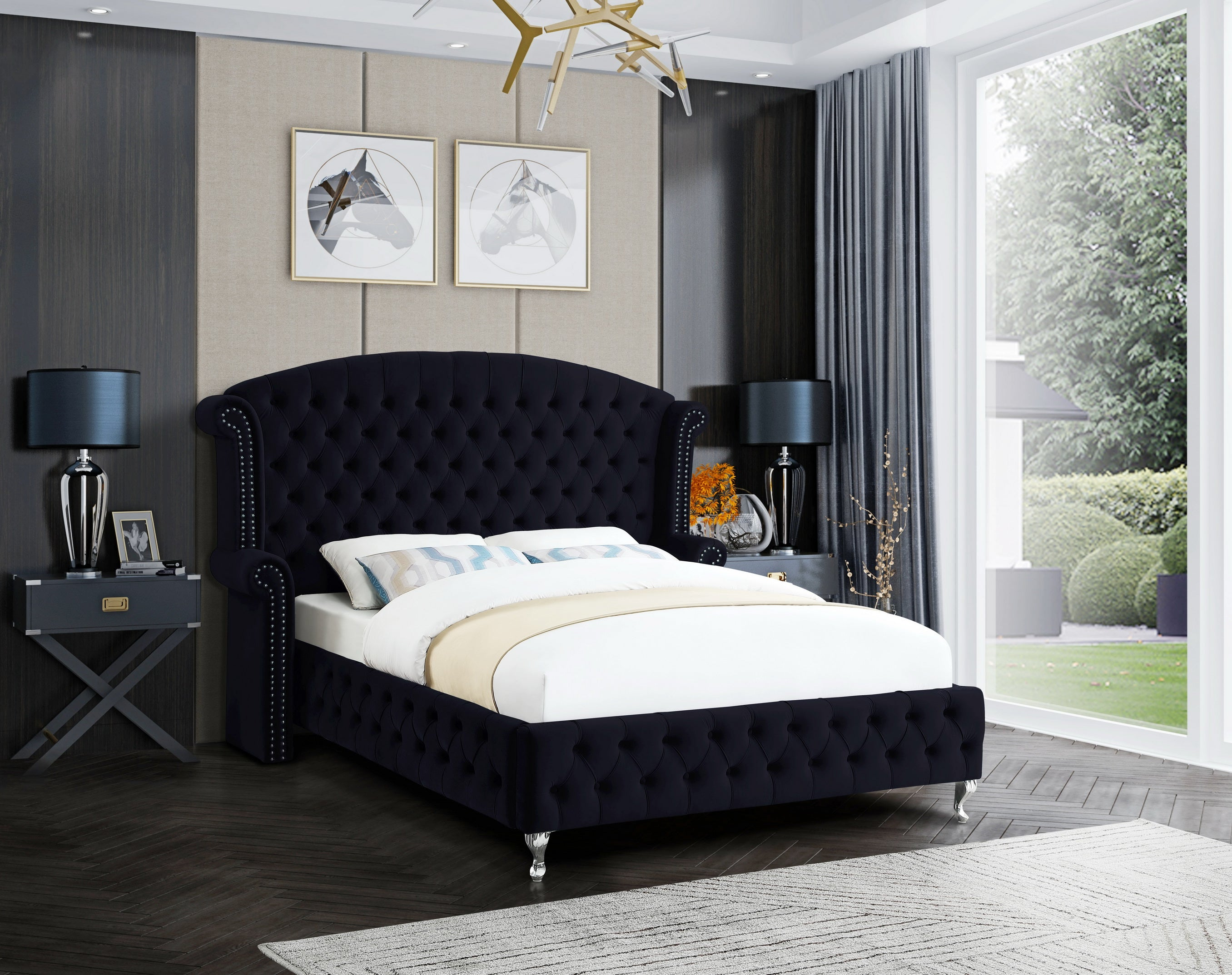 Black Upholstered Bed Pacific Imports Inc