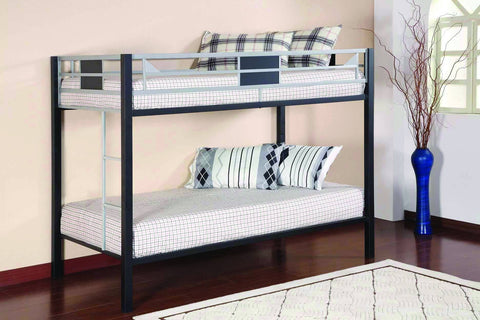 Twin / Twin Black & Silver Metal Bunk Bed - Furnlander