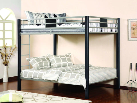 Full / Full Black & Silver Metal Bunk Bed - Furnlander