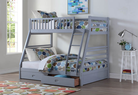 Wood Twin/Full Bunk Bed; Gray