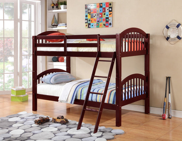 Harley Convertible Twin / Twin Bunk Bed Cherry - Furnlander