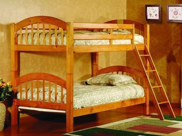 Harley Convertible Twin / Twin Bunk Bed Honey Pine - Furnlander