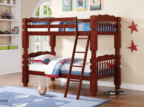 Wood Convertible Twin / Twin Bunk Bed Cherry - Furnlander