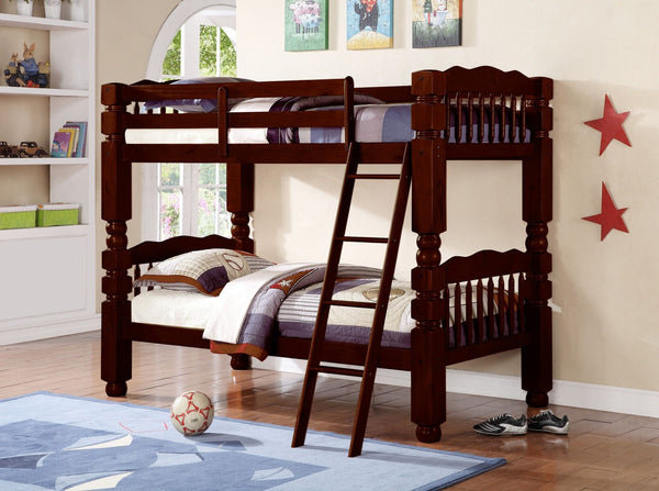 Wood Convertible Twin / Twin Bunk Bed Espresso - Furnlander