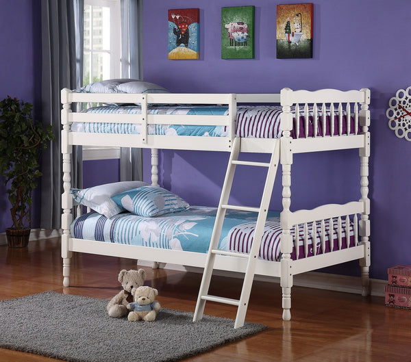 Bora Wood Convertible Twin / Twin Bunk Bed White - Furnlander