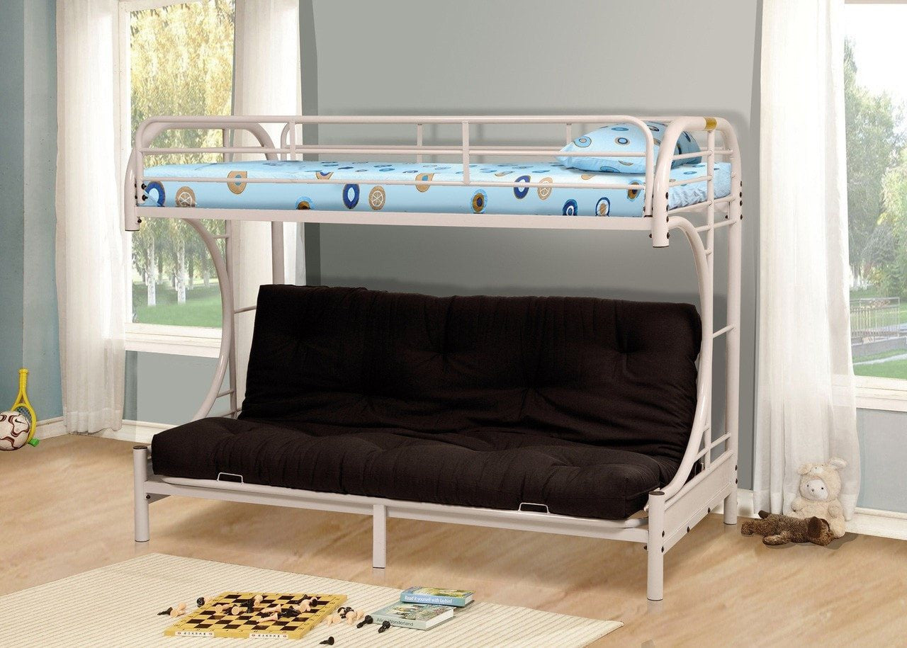 Twin Futon C Style Metal Bunk Bed White Pacific Imports Inc