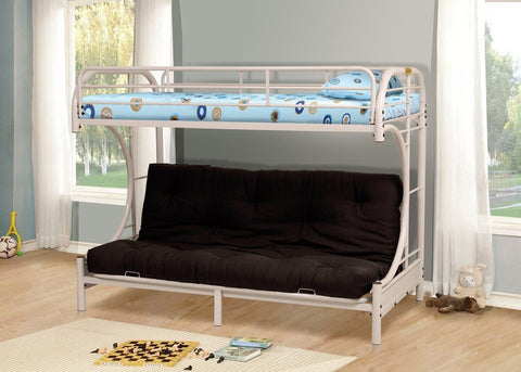 "Twin / Full ""C"" Style Metal Bunk Bed White - Furnlander"
