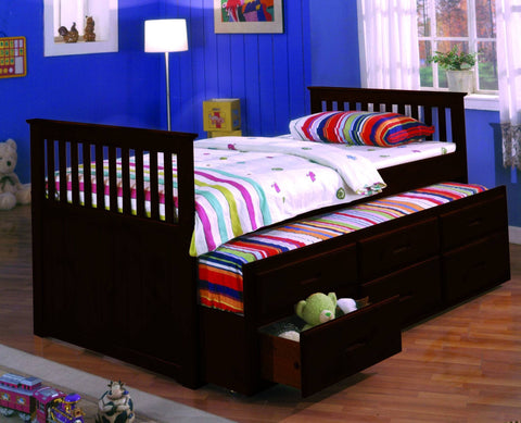 Twin Captain Bed w/ Trundle & 3 Drawers Espresso - Furnlander