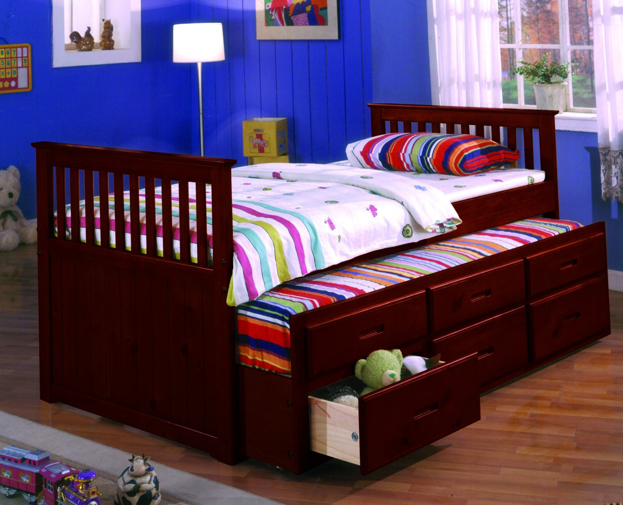 Twin Captain Bed Wtrundle Drawers Cherry Pacific Imports Inc