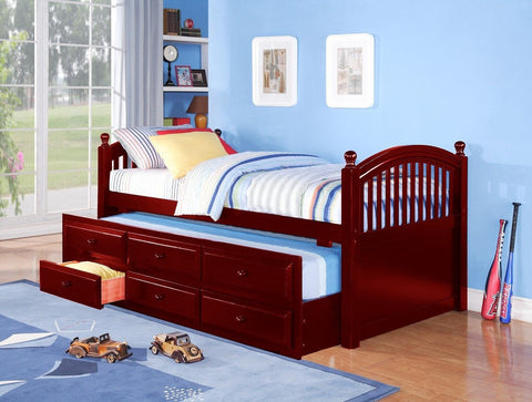 Twin Captain Bed w/ Trundle & Drawers Cherry - Furnlander