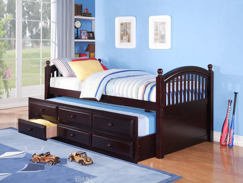 Twin Captain Bed w/ Trundle & Drawers Espresso - Furnlander