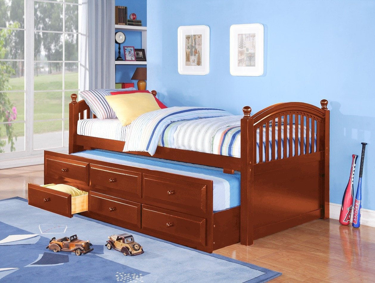 Twin Captain Bed W Trundle Drawers Honey Pine Pacific Imports