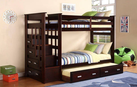 Twin / Twin Espresso Finish Staircase Bunk Bed w/ Trundle Bed & Drawers - Furnlander