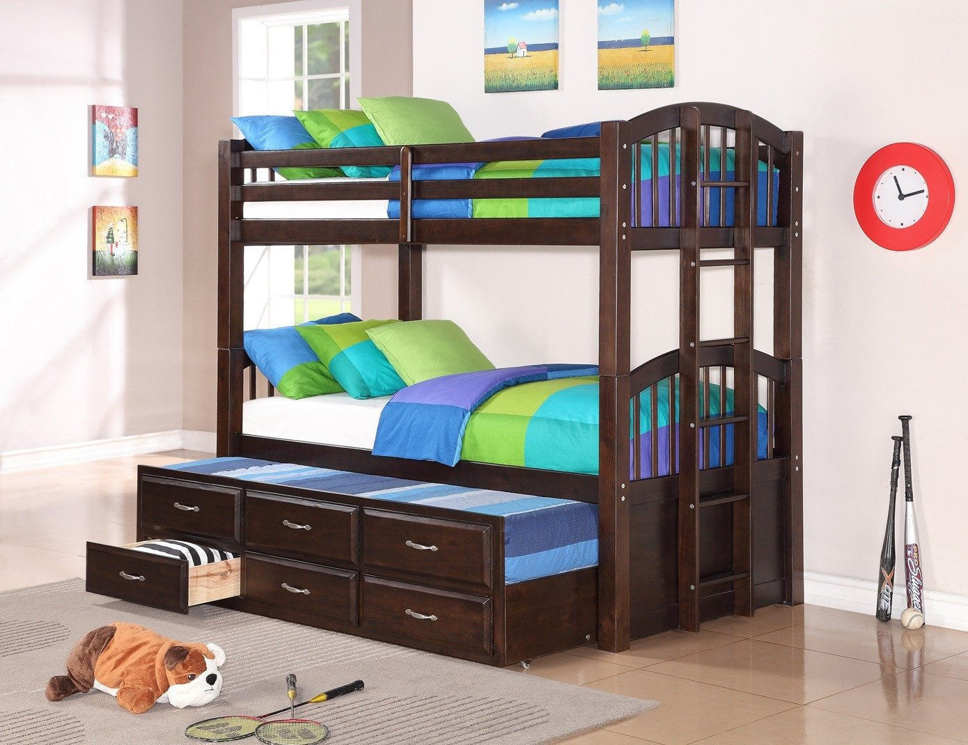 Wood Twintwin Bunk Bed Wtrundle Bed Drawers Espresso Pacific