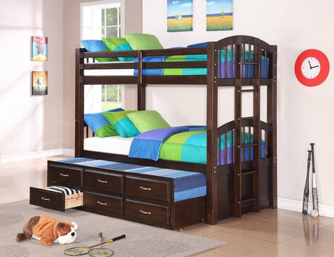 Twin / Twin Espresso Finish Wood Bunk Bed w/ Trundle Bed & Drawers - Furnlander