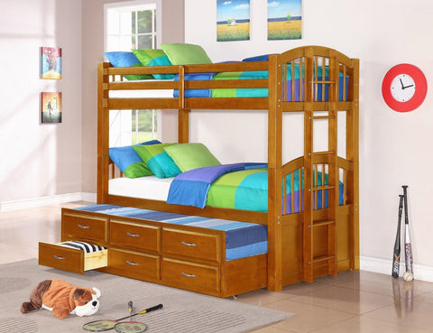 Twin / Twin Oak Finish Wood Bunk Bed w/ Trundle Bed & Drawers - Furnlander