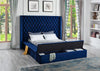 Blue Upholstered Bed w/Storage