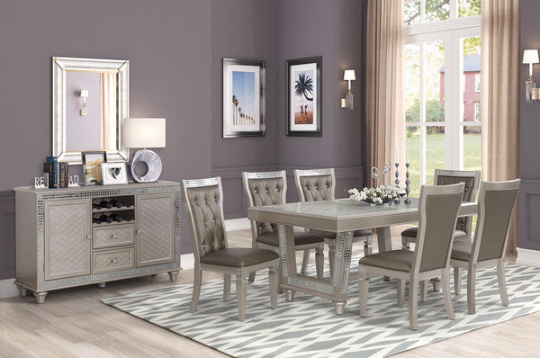 Silver Dining Table w/Glass Design