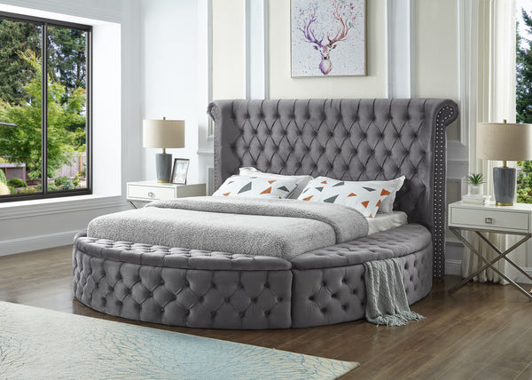 Gray Round Upholstered Bed w/Storage