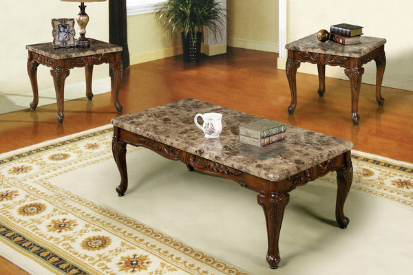 Benedict Coffee Table Set Cherry 3 PCS. SET (1C + 2E) - Furnlander