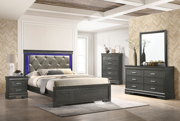 Gray LED Bedroom