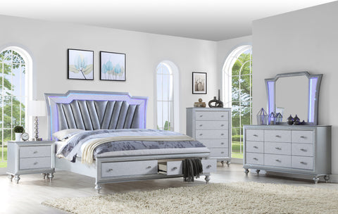 Silver LED Bedroom with Footboard Drawers